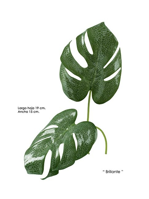 HOJA DE MONSTERA artificial verde (3 unidades)